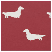 Long Haired Dachshund Silhouettes Pattern Fabric