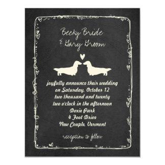 Long Haired Dachshund Silhouettes Wedding Card