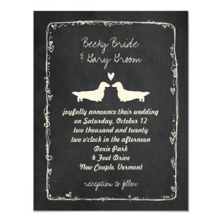 "Long Haired Dachshund Silhouettes Wedding 4.25"" X 5.5"" Invitation Card"
