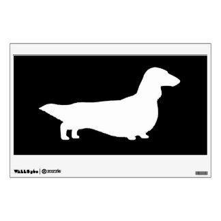 Long Haired Dachshund - White on Black Wall Decal