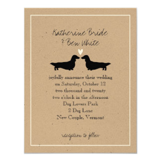 Long Haired Dachshunds Wedding Invitation