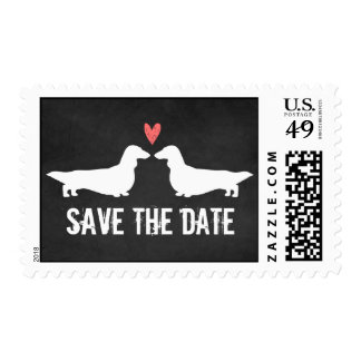 Long Haired Dachshunds Wedding Save the Date Postage