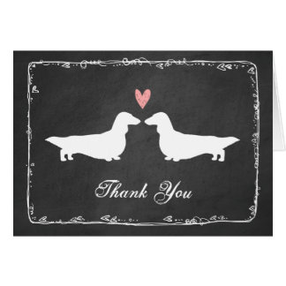Long Haired Dachshunds Wedding Thank You Stationery Note Card