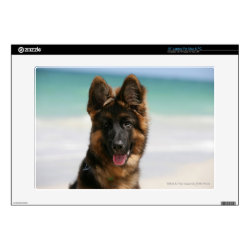 "Long Haired German Shepherd Beach 15"" Laptop Skin"
