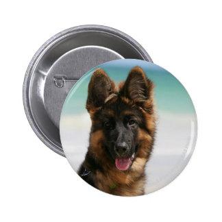 Long Haired German Shepherd Beach Button
