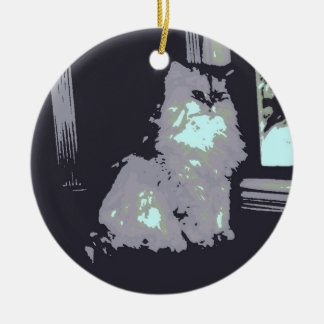 Long-haired Gray Kitty Cat Ceramic Ornament