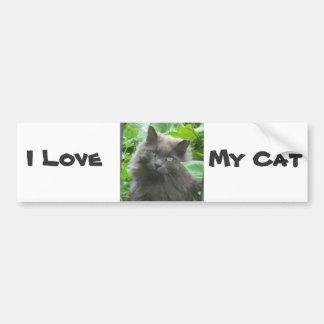 Long Haired Gray Russian Blue Cat Car Bumper Sticker