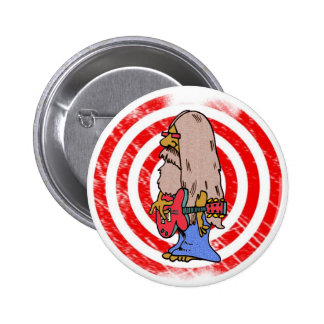 Long Haired Hippie Rocker Pinback Button
