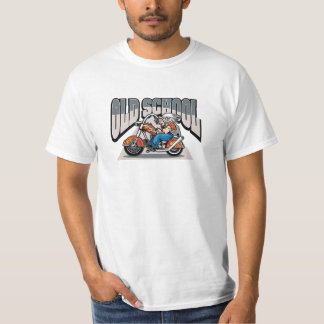 Long Haired Old School Biker On Flamed Motorcycle T-Shirt