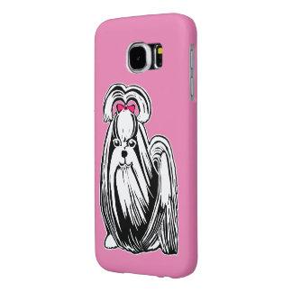 Long Haired Shih Tzu Pink Samsung Galaxy S6 Case