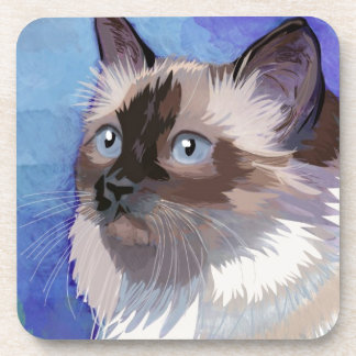 Long-haired Siamese Himalayan Cat Coaster