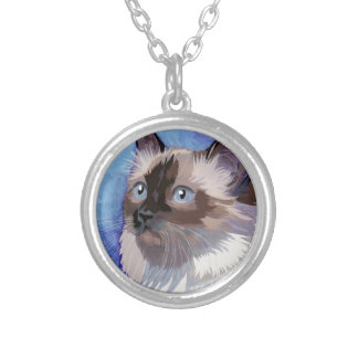 Long-haired Siamese Himalayan Cat Round Pendant Necklace