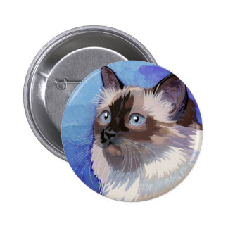 Long-haired Siamese Himalayan Cat Pinback Button