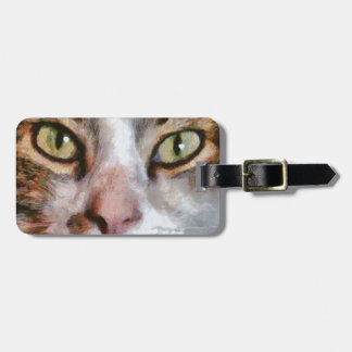 Long Haired Tabby Cat Close Up Portrait Bag Tag