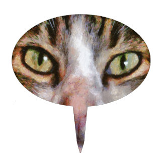 Long Haired Tabby Cat Close Up Portrait Cake Topper
