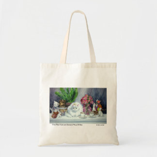 Long Haired White Cat Tote Bag