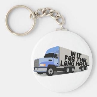 Long Haul Trucking Basic Round Button Keychain