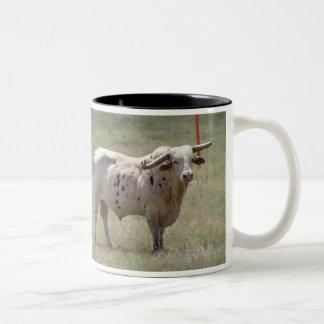 Long Horn Bull Two-Tone Coffee Mug