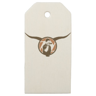 Long Horn Bull Videography Wooden Gift Tags