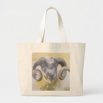 Long Horn Sheep 2 Large Tote Bag