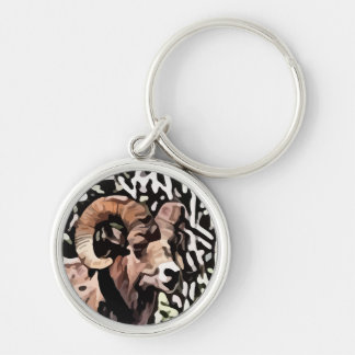 long horn sheep painting keychain