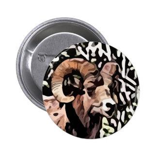 long horn sheep painting pinback button