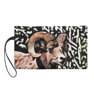long horn sheep painting wristlet purse