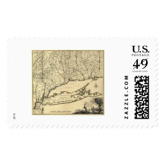 Long Island and Connecticut Map 1780 Postage Stamps