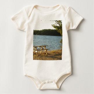 Long Island Beach Bench Baby Bodysuit