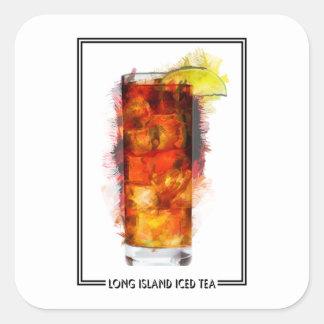 Long Island heló bosquejo del marcador del té Pegatina Cuadrada