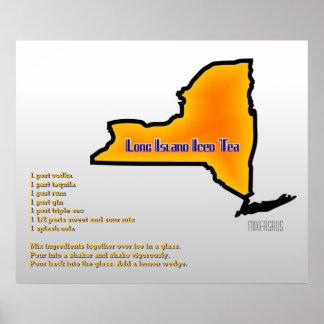 Long Island heló receta de la bebida del té Poster