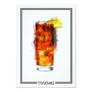 Long Island Iced Tea Cocktail Marker Sketch Card