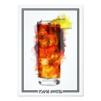 Long Island Iced Tea Cocktail Marker Sketch Invite