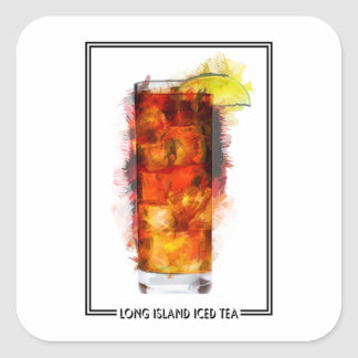Long Island Iced Tea Marker Sketch Square Sticker