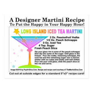 Long Island Iced Tea Martini Recipe Postcard