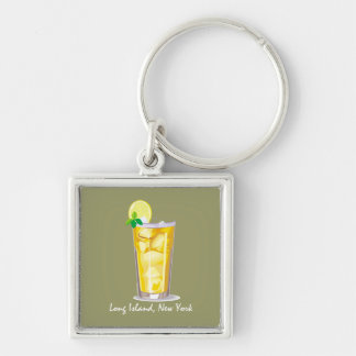Long Island Iced Tea Silver-Colored Square Keychain