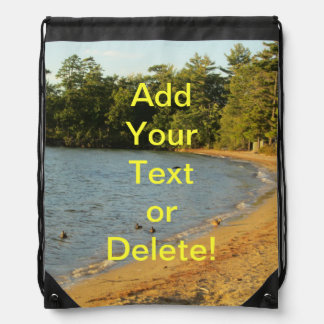 Long Island Lake Beach Drawstring Bag
