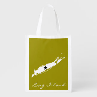 Long Island Map Silhouette Reusable Grocery Bags