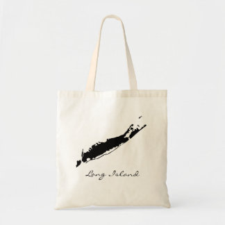 Long Island Map Silhouette Tote Bag