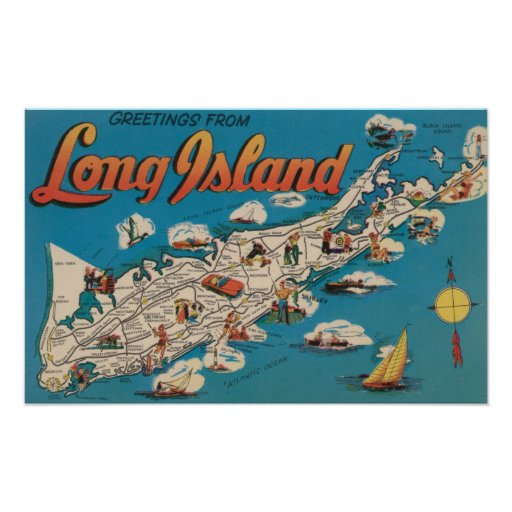 Long island new york greetings from poster zazzle for Custom t shirts long island ny
