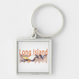 Long Island NY Silver-Colored Square Keychain