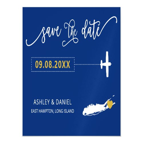 Long Island NY Wedding Save the Date Card Map Magnetic Invitation