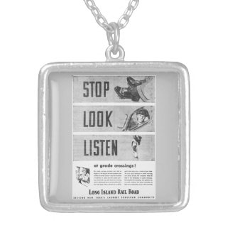 Long Island Railroad Safety  Necklace Square Pendant Necklace