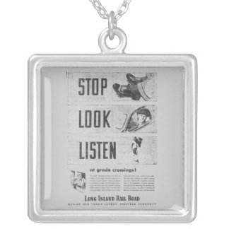 Long Island Railroad Safety Silver Plated Necklace