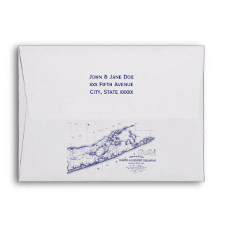 Long Island The Hamptons Map Navy Blue NT Envelope