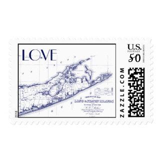 Long Island The Hamptons Map Navy Blue Postage