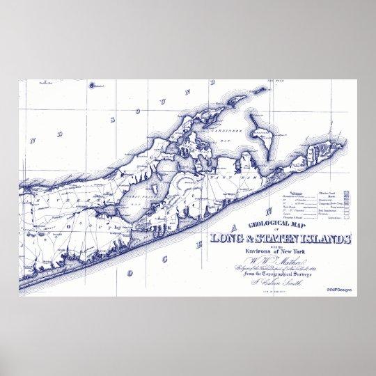 Hamptons New York Map.Long Island The Hamptons Map Vc Poster Zazzle Com