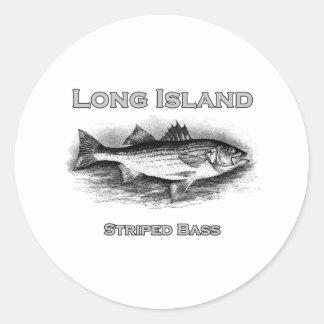 Long Island Vintage Striped Bass Logo Classic Round Sticker