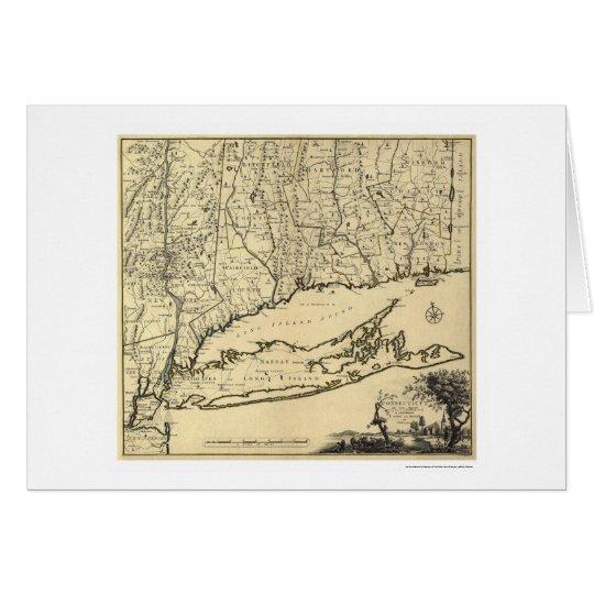 Long Island y mapa 1780 de Connecticut Tarjeta De Felicitación