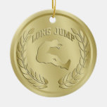Long Jump Gold Toned Medal Ornament